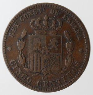 reverse: Monete Estere. Spagna. Alfonso XII. 1874-1885. 5 Centimos 1877. Ae. Km 674. Peso gr. 4,73.BB+.