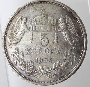 reverse: Monete Estere. Ungheria. Francesco Guseppe. 1848-1916. 5 Korona 1908. Ag 900. Km. 488. Peso gr. 23,94. BB.
