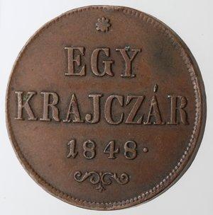 reverse: Monete Estere. Ungheria. 1 Krajczar 1848. Ae. Km. 430.1. Peso gr. 8,63. Diametro mm. 27.SPL.