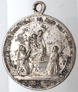obverse: Medaglie. Pompei. Medaglia per il cinquantenario del culto della Madonna di Pompei. Ag. D/ La madonna di Pompei RICORDO DEL PRIMO CINQUANTENARIO DEL CULTO DELLA MADONNA DI POMPEI, in esergo 1875-1925. R/ PAX CHRISTI IN REGNO CHRISTI. Peso gr. 29,54. Diametro mm. 40. qSPL. Colpetti e macchie.