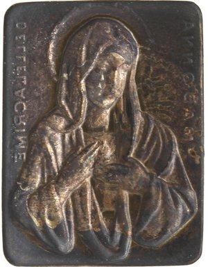 reverse: Medaglie. Siracusa. Placchetta devozionale. Madonna delle Lacrime. Ag. Sec. XIX. Diametro mm. 24x18. qFDC. Patina e ottima conservazione.