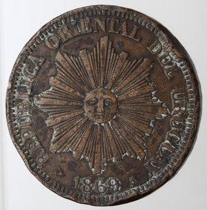 obverse: Monete Estere. Repubblica Oriental dell  Uruguay.  4 centemos 1869. Br. Zecca H. Birmingham. Km. 13. Peso gr. 20,00. BB. Colpi al bordo.