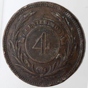 reverse: Monete Estere. Repubblica Oriental dell  Uruguay.  4 centemos 1869. Br. Zecca H. Birmingham. Km. 13. Peso gr. 20,00. BB. Colpi al bordo.