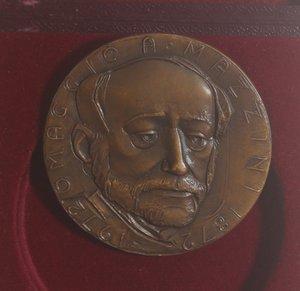 obverse: Medaglie. San Marino.Medaglia 1972. Ae. Centenario della morte di  Giuseppe Mazzini.Opus M. Molteni. Diametro 50 mm. FDC.In Cofanetto. NC.