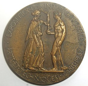 reverse: Medaglia Francia. Massimo modulo. Fusione in Br. D/ REPVBLIQVE FRANCAISE in esergo PIETRO MONTUORI ADMINISTRATEUR DU COMMISSARIAT GENERAL ITALIEN . R/ EXPOSITION INTERNATIONALE ARTS ET TECHNIQUES PARIS 1937. Diametro 113 mm. qFDC.
