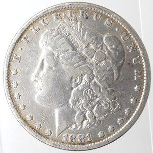 obverse: Monete Estere. Usa. Dollaro Morgan 1881. Ag. 900. Peso gr. 26,24. MB.