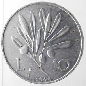 reverse: Repubblica Italiana. 10 lire 1948 Ulivo. It. Gig 231. BB. NC.