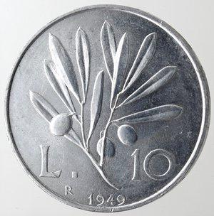 reverse: Repubblica Italiana. 10 Lire 1949 Ulivo. It. Gig 232. qFDC.