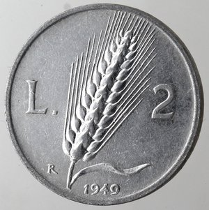 reverse: Repubblica Italiana. 2 lire 1949 Spiga. It. Gig 327. SPL+. NC.