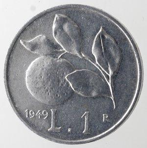 reverse: Repubblica Italiana. 1 lira 1949 Arancia. It. Gig 364. qFDC.