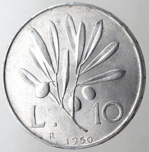 reverse: Repubblica Italiana.10 Lire 1950 Ulivo. It. Gig.233.SPL+/qFDC.