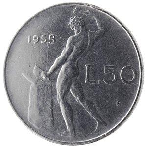 reverse: Repubblica Italiana.50 Lire Vulcano 1958. Ac. Gig. 147.BB.R.