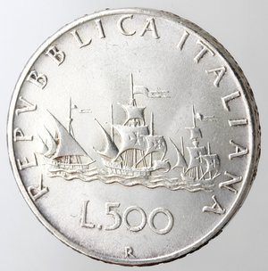 reverse: Repubblica Italiana. 500 lire Caravelle 1959. Ag. Gig 9. BB+.