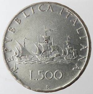 reverse: Repubblica Italiana. 500 lire Caravelle 1961. Ag. Gig 11. MB+.