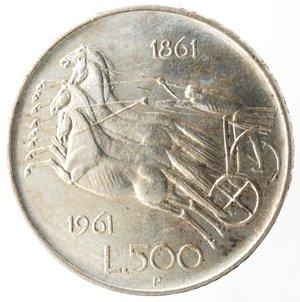 reverse: Repubblica Italiana. 500 Lire 1961 Unità d Italia. Ag. Gig. 41. qFDC.