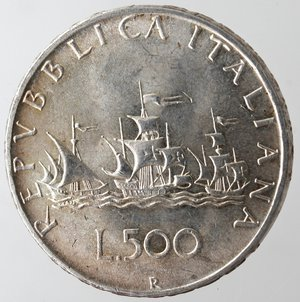reverse: Repubblica Italiana. 500 lire Caravelle 1965. Ag. Gig 13. qFDC.