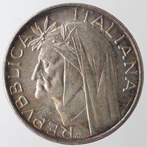 obverse: Repubblica Italiana. 500 Lire 1965 Dante. Ag. Gig. 42. FDC. Patina iridescente.