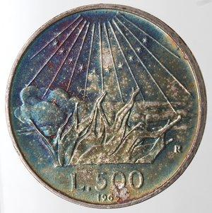 reverse: Repubblica Italiana. 500 Lire 1965 Dante. Ag. Gig. 42. FDC. Patina iridescente.