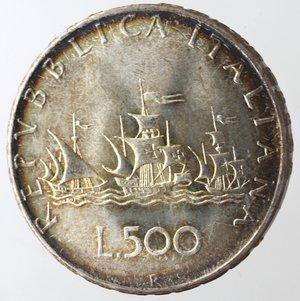 reverse: Repubblica Italiana. 500 Lire 1966 Caravelle. Ag. Gig. 14. qFDC.