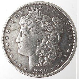 obverse: Monete Estere. Usa. Dollaro Morgan 1890. Ag. 900. Peso gr. 26,66. qBB.