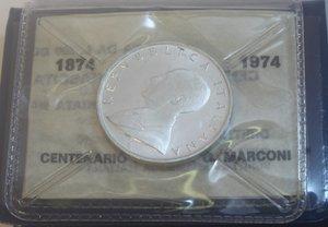 obverse: Repubblica Italiana. 500 Lire. Marconi 1974. Ag. Gig. 416. FDC. In confezione originale della Zecca.