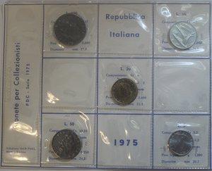 obverse: Repubblica Italiana. Serie divisionale 1975. Metalli vari. FDC.