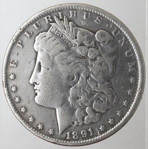 obverse: Monete Estere. Usa. Dollaro Morgan 1891 O. Ag. 900. Peso gr. 26,09. MB.