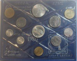 obverse: Repubblica Italiana. Serie divisionale 1980. 10 valori con 500 Lire e medaglia. Ag. Gig. S5. FDC. Confezione originale della Zecca.