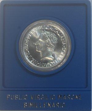 obverse: Repubblica Italiana. 500 Lire 1981. Bimillenario Virgilio. Ag. Gig. 418. FDC. Confezione originale della Zecca.