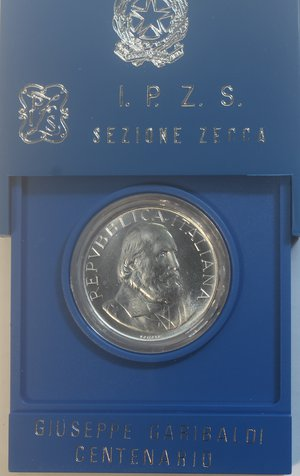 obverse: Repubblica Italiana. 500 Lire 1982 Garibaldi. Ag. Gig. 420.FDC. Confezione originale della Zecca.