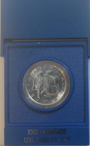 obverse: Repubblica Italiana. 500 lire 1984. XXIII Olimpiade di Los Angeles. Ag. Gig. 421. FDC. Confezione originale della Zecca.