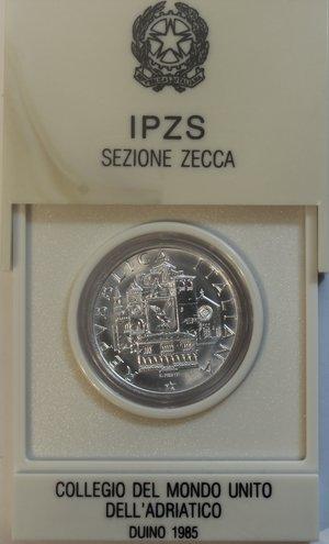 obverse: Repubblica Italiana. 500 Lire. Collegio del Mondo Unito dell  Adriatico Duino.1985. Ag. Gig. 423. FDC. Confezione originale della zecca.