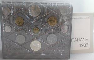 obverse: Repubblica Italiana.Serie Divisionale 1987. 11 valori con 500 lire e 500 Lire Leopardi. Ag. Gig. 14.FDC. Confezionedella zecca.