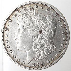 obverse: Monete Estere. Usa. Dollaro Morgan 1899. Ag. 900. Peso gr. 26,65. BB. Graffi.