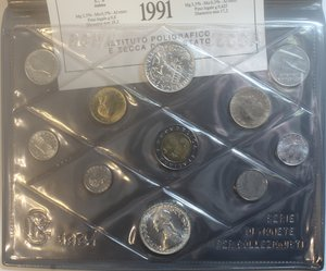 obverse: Repubblica Italiana. Serie divisionale 1991. 11 valori con 500 lire e 500 Lire Vivaldi. Ag. Gig.18. FDC. Confezione originale della Zecca.