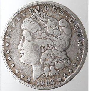 obverse: Monete Estere. Usa. Dollaro Morgan 1902 O. Ag. 900. Peso gr. 26,13. MB.