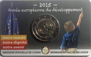 obverse: Monete Estere. Belgio. Coin Card 2 euro 2015. Bimetallica. FDC.