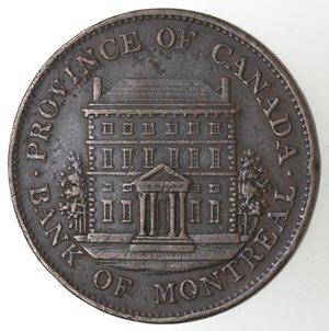 reverse: Token. Canada. Montreal. Halfpenny Token 1844. Ae.  D/ PROVINCE OF CANADA BANK OF MONTREAL Edificio. R/ BANK TOKEN HALF PENNY Stemma 1844. KM-Tn18. Peso  gr. 9,06. Diametro mm. 28. SPL.