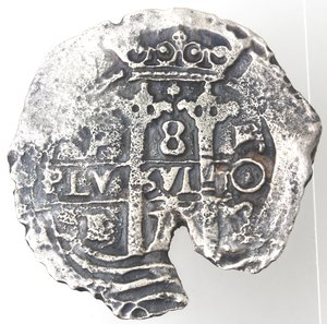 reverse: Monete Estere. Bolivia. Potosi . Carlo II Re di Spagna. 1665-1700. 8 Reales 1675. Ag. Marchio Saggiatore