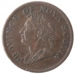 obverse: Token. Canada. Nova Scotia. Giorgio IV. Half Penny 1832. Ae. KM 1. Peso gr. 8,33. Colpetto al bordo. Patina marrone. qSPL. Rara in questa conservazione.