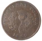 reverse: Token. Canada. Nova Scotia. Giorgio IV. Half Penny 1832. Ae. KM 1. Peso gr. 8,33. Colpetto al bordo. Patina marrone. qSPL. Rara in questa conservazione.