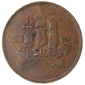 obverse: Token. Canada. Prince Edward Island. Halfpenny Token ND (1835). Ae. D/ SHIPS COLONIES & COMMERCE. R/ Nave verso destra. Charlton-PE-10-30. Peso  gr. 5,05. Diametro mm. 26. qSPL.
