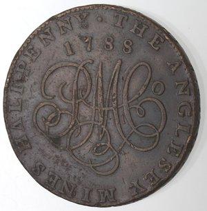reverse: Token. Gran Bretagna. Anglesey. Halfpenny Token 1788. Ae. D&H 310. D/ Testa di druido a sinistra. R/ THE ANGLESEY MINES HALFPENNY 1788, al centro monogramma. Sul contorno PAYABLE IN ANGLESEY LONDON OR LIVERPOOL. Peso gr. 14,00. Diametro mm. 29. SPL.