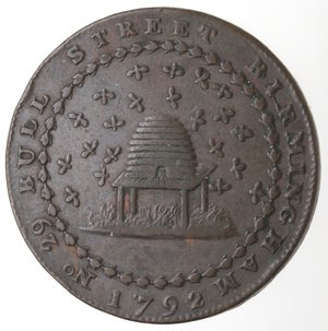 obverse: Token. Gran Bretagna. Warwickshire. Birmingham. Donald & Co. Halfpenny Token 1792. Ae. D&H 123. D/ DONALD & CO / STOCKING / MANUFACTURERS / WHOLESALE & / RETAIL. / PROMISSORY HALFPENNY PAYABLE AT NOTTINGM OR. R/ NO. 29 BULL STREET BIRMINGHAM A. Peso gr. 11,80. Diametro mm. 29,20. qBB-SPL.