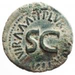 R/ Impero Romano. Augusto. 43 a.C.-17 d.C. Asse. D/ CAESAR AVGVST PONT MAX TRIBVNIC POT Testa di Augusto verso destra. R/ SC LVRIVS AGRIPPA III VIR A A A F F. RIC.427. Peso 10,85 gr. Diametro 27,23 mm. Piegato altrimenti SPL.§