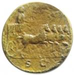 R/ Impero Romano. Tito Cesare. 69-79 d.C. Sesterzio. AE. D/ T CAESAR VESPASIAN IMP IIII PON TR PONT COS III. Testa laureata a destra. R/ SC (in esergo). Tito su quadriga trionfale al passo a destra. RIC manca (cfr. 629). C. manca. Peso gr. 21,36. Diametro mm. 33.00. qBB. RR