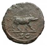 R/ Impero Romano - Traiano. 98-117 d.C.Quadrante. D/ IMP CAES TRAIAN AVG GERM Testa laureata verso destra. R/ Lupa verso destra SC. Peso 2,08 gr. Diametro 15,4 mm. RIC.691. BuonBB.Buona centratura e modulo regolare