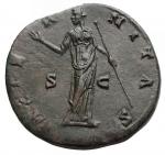 R/ Impero Romano - Faustina I (moglie di Antonino Pio) Sesterzio Ae. d/Busto velato a d. r/ L'Eternità stante a sn. RIC 1102. g 27,35.SPL