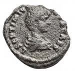 R/ Impero Romano - Settimio Severo (193-211) con Geta come Cesare. Denario. AE. 198 d.C. Zecca di Laodicea. d/ L SEPT SEV AVG IMP XI PART MAX Busto con testa laureata a ds. r/ L SEPTIMIVS GETA CAES Busto drappeggiato e corazzato con testa nuda a ds. RIC 506. C. (Settimio e Geta) 4 (Fr.60). AE. g 2,3. mm 18,3. RRR. Estremamente raro. BB. Patina verde grigia