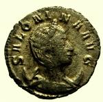 D/ Impero Romano Salonina. 253-268 d.C. Antoniniano : D/ SALONINA AVG Busto verso destra. R/ VESTA Vesta seduta con palladio e scettro. Ric 9. Peso 2,7 gr. Diametro 21,5 mm. qBB.